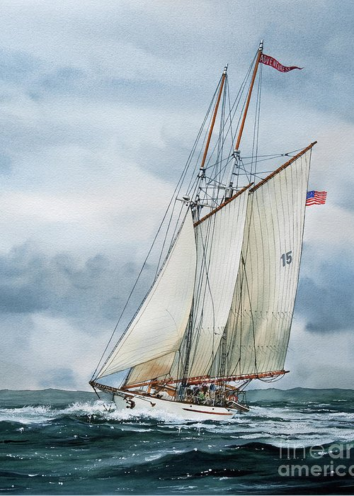 Sailing Vessel Adventuress Greeting Card featuring the painting Adventuress by James Williamson