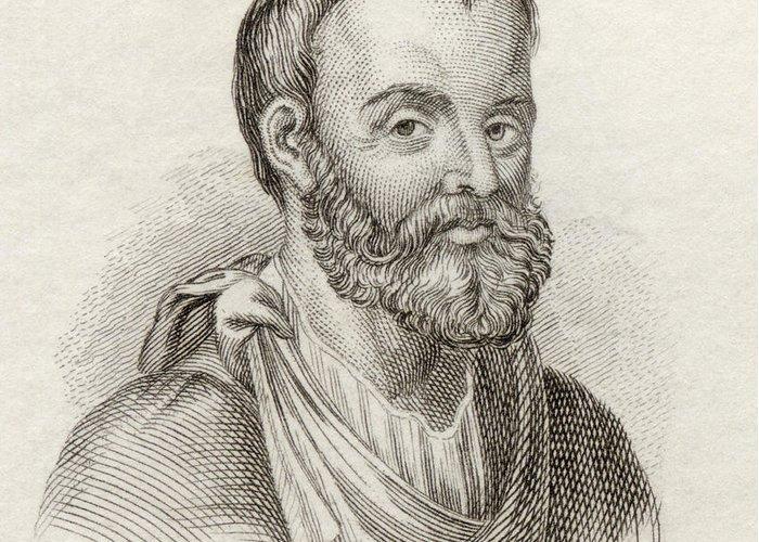 Galenus Greeting Card featuring the drawing Aelius Galenus Or Claudius Galenus by Vintage Design Pics