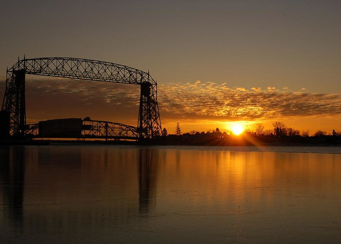Bridge Greeting Card featuring the photograph Aerial Bridge In Sunrise by Evia Nugrahani Koos