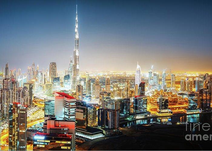 Dubai Greeting Card featuring the photograph Aerial Panorama View Of Dubai By Night by Dmitrii Telegin