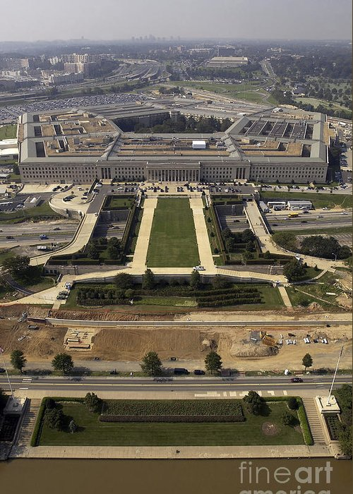 Building Greeting Card featuring the photograph Aerial Photograph Of The Pentagon by Stocktrek Images