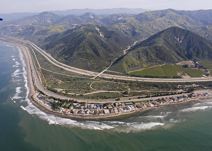 Ventura County Greeting Card featuring the photograph Aerial View Of Highway 1 As It Meets by Rich Reid