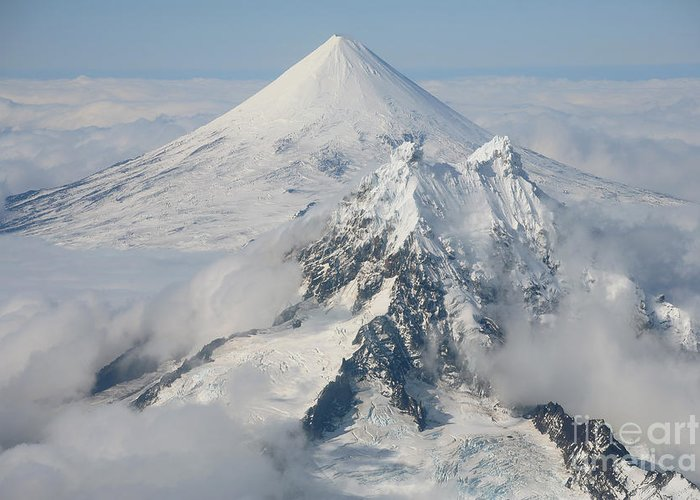 Aerial View Greeting Card featuring the photograph Aerial View Of Shishaldin Volcano by Richard Roscoe