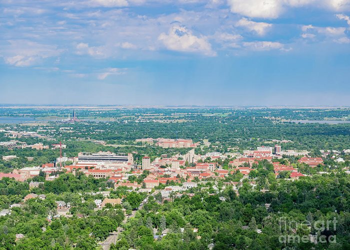 Colorado Greeting Card featuring the photograph Aerial View Of The Beautiful University Of Colorado Boulder by Chon Kit Leong