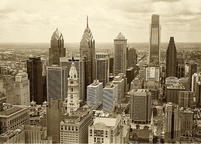 Philadelphia Greeting Card featuring the photograph Aerial View Philadelphia Skyline Wth City Hall by Jack Paolini