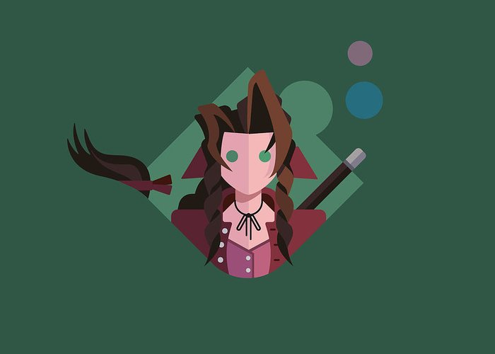 Ffvii Greeting Card featuring the digital art Aeris by Michael Myers