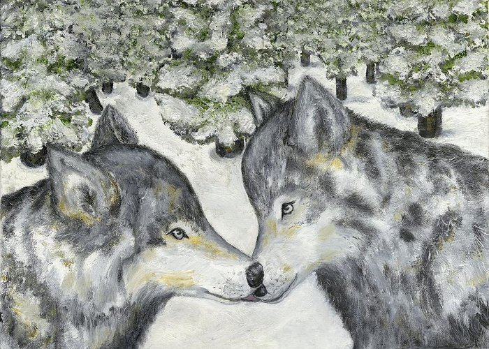 Wolves Greeting Card featuring the painting Affection In The Wild by Tanna Lee M Wells