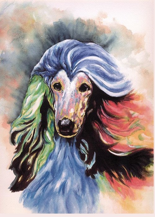 Afghan Hound Greeting Card featuring the painting Afghan Storm by Kathleen Sepulveda