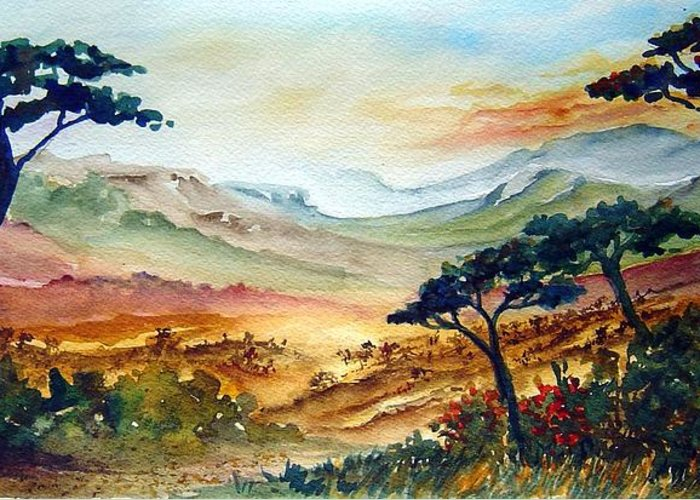 Africa Greeting Card featuring the painting Africa by Joanne Smoley