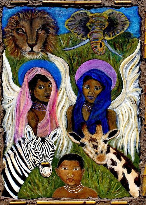 Angels Greeting Card featuring the painting African Angels by The Art With A Heart By Charlotte Phillips