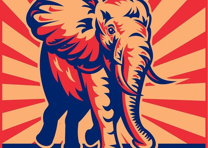 African Elephant Greeting Card featuring the digital art African Bull Elephant Charging Retro by Aloysius Patrimonio