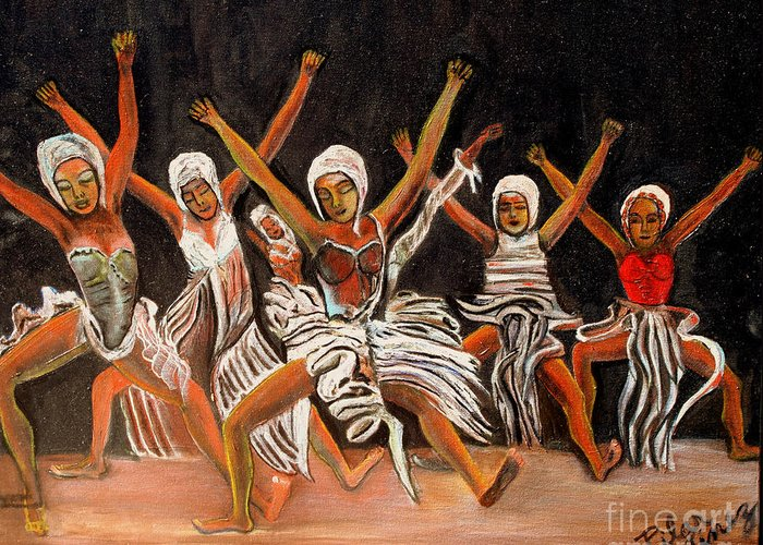 Dancers Greeting Card featuring the painting African Dancers by Pilar Martinez-Byrne