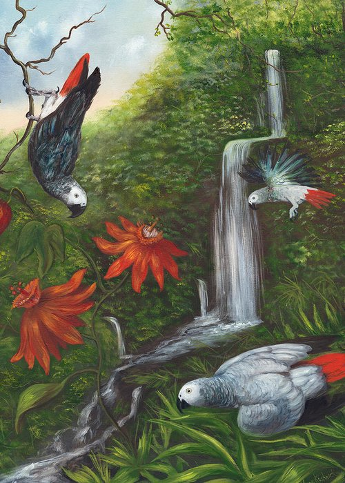 Landscape Greeting Card featuring the painting African Grays by Anne Kushnick