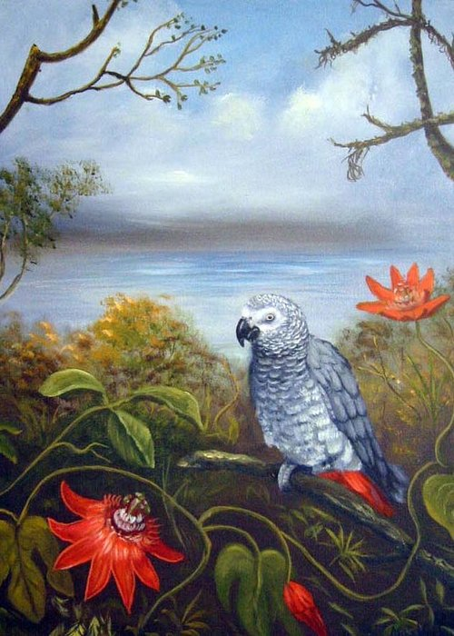 Birds Greeting Card featuring the painting African Grey with Flowers by Anne Kushnick