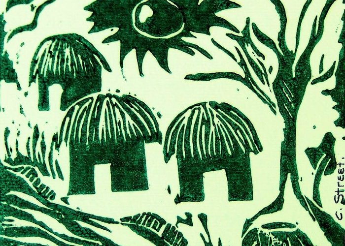 Lino Cutting Greeting Card featuring the relief African Huts by Caroline Street