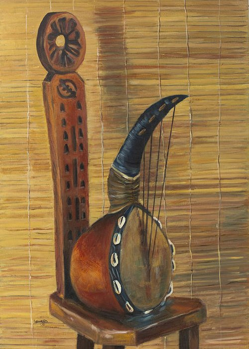 Still Life Greeting Card featuring the painting African Instrument on Stool by Leonard R Wilkinson