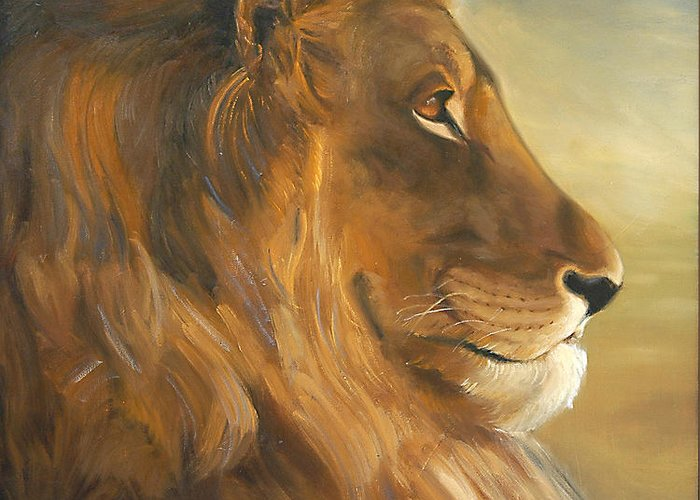 Painting Greeting Card featuring the painting African King by Greg Neal
