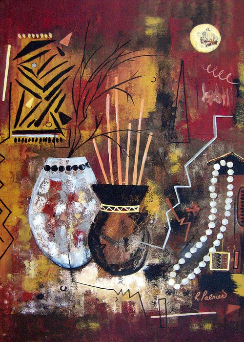 Abstract Greeting Card featuring the painting African Perspective by Ruth Palmer