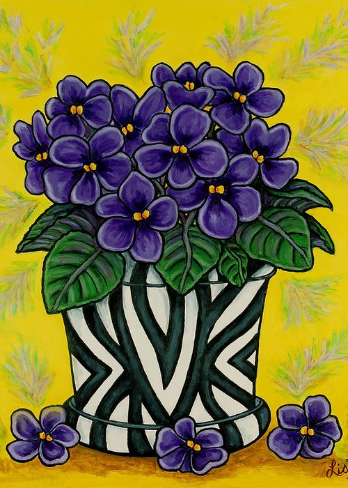 Violets Greeting Card featuring the painting African Queen by Lisa Lorenz