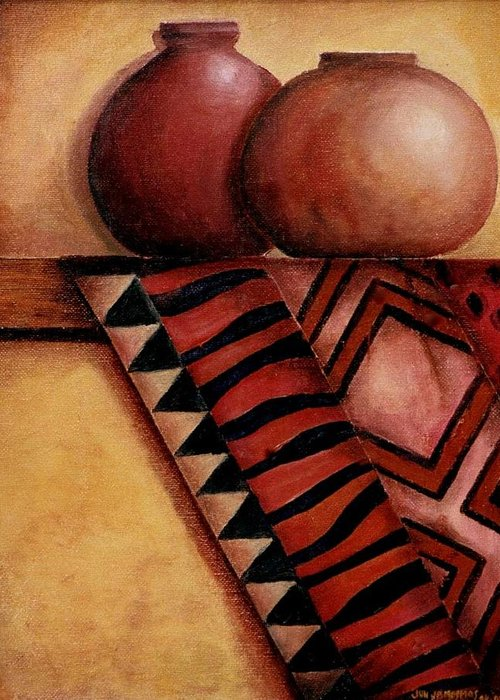 African Greeting Card featuring the painting African Touch by Jun Jamosmos