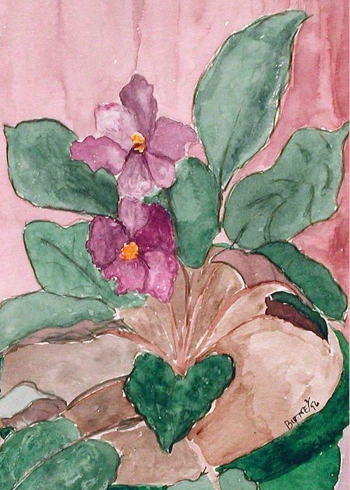 Watercolor Greeting Card featuring the painting African Violet by Margie Byrne