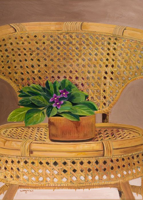 Still Life Greeting Card featuring the painting African Violet on Wicker by Leonard R Wilkinson