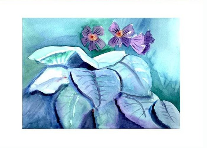 African Violets Greeting Card featuring the painting African Violets by Janet Doggett