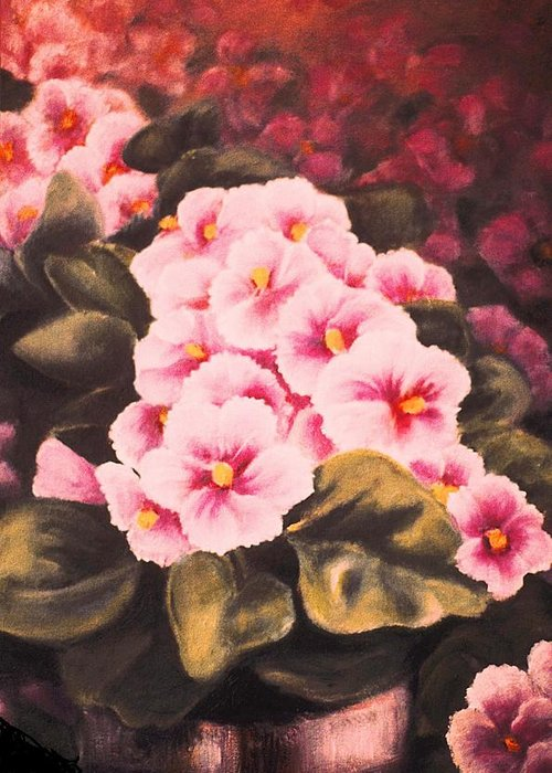 African Violets Greeting Card featuring the painting African Violets by Jordana Sands