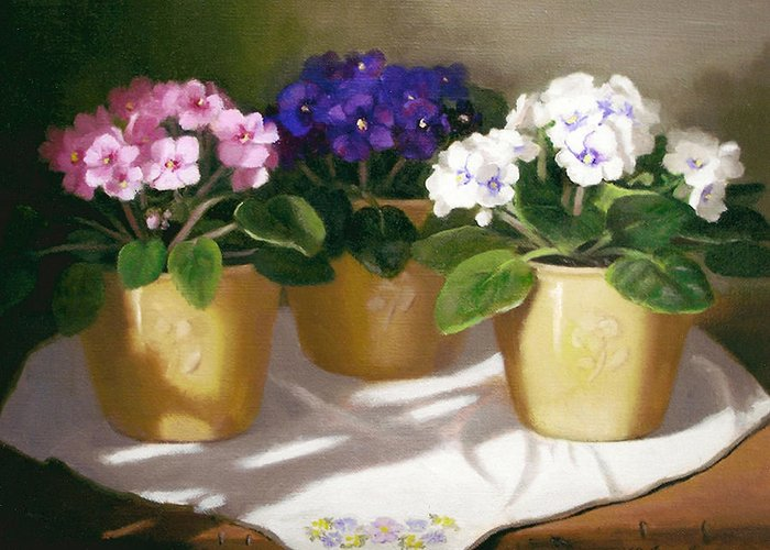 African Violets Greeting Card featuring the painting African Violets by Linda Jacobus