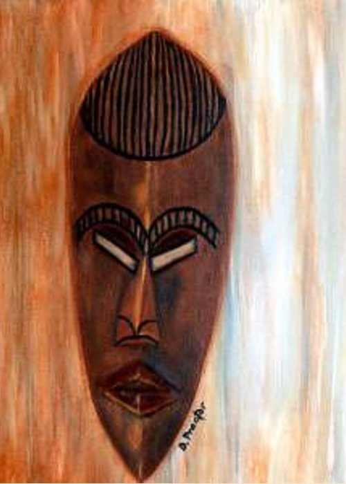 African Greeting Card featuring the painting African Warrior by Donna Proctor