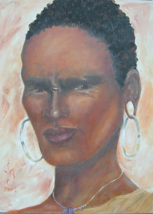 African Art Greeting Card featuring the painting African Warrior by Judie Giglio