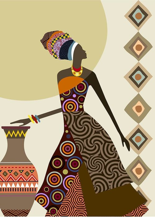 Afrocentric chic iii greeting card for sale by lanre studio african woman art greeting card featuring the painting afrocentric chic iii by lanre studio m4hsunfo