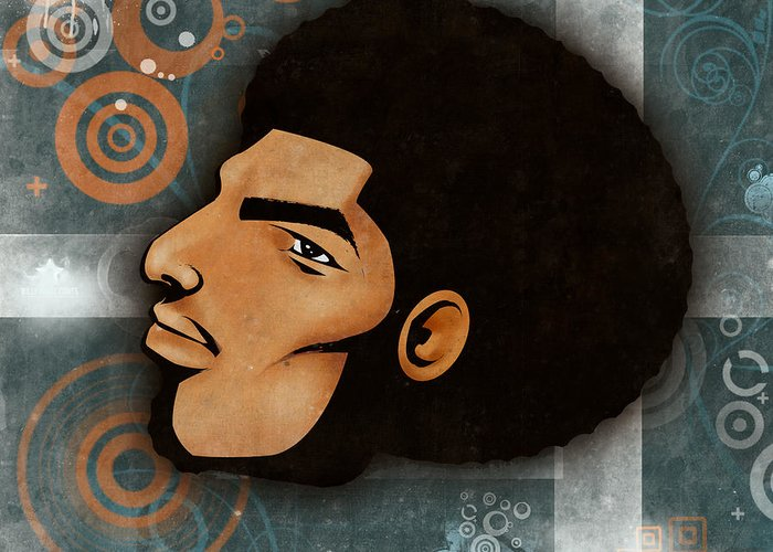 Graphitti Greeting Card featuring the digital art Afrocentriverse by Nathaniel Roberts
