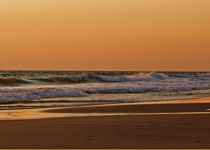 Beach Greeting Card featuring the photograph After A Sunset by Sandy Keeton