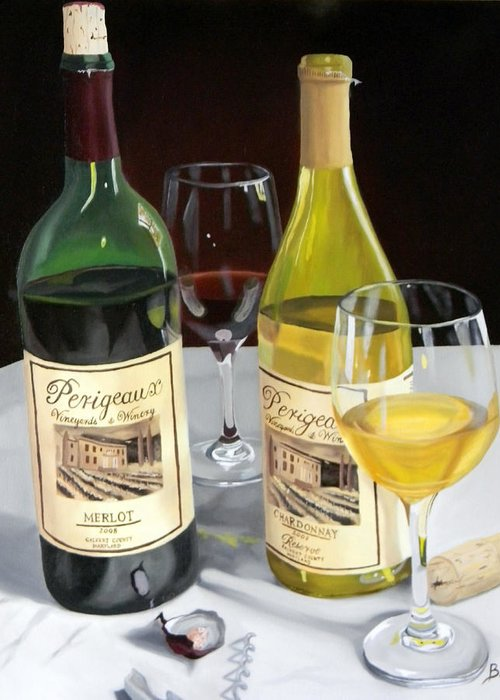 Wine Art Paintings Greeting Card featuring the painting After Five by Brien Cole