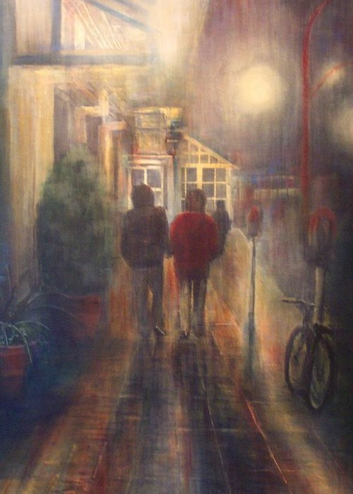 People Greeting Card featuring the painting After Hours by Victoria Heryet