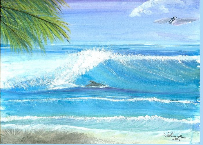 Dolphin Surfing Greeting Card featuring the mixed media After Lunch Session by Laura Johnson