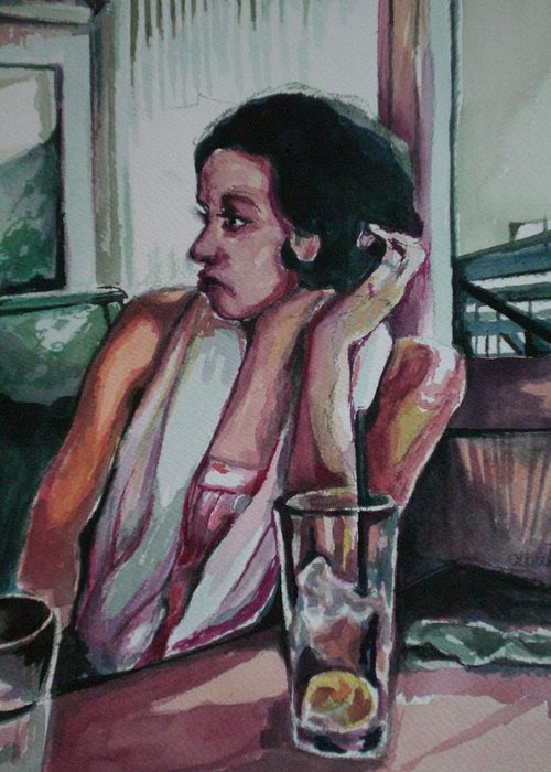 Greeting Card featuring the painting After Lunch What Then by Aleksandra Buha