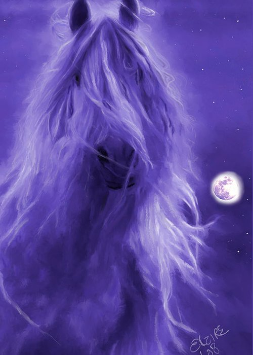 Purple Greeting Card featuring the painting After Midnight by Elzire S