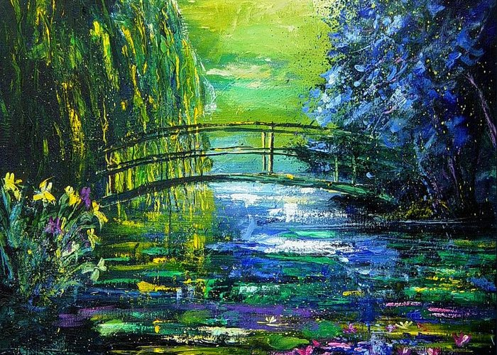 Pond Greeting Card featuring the painting After Monet by Pol Ledent