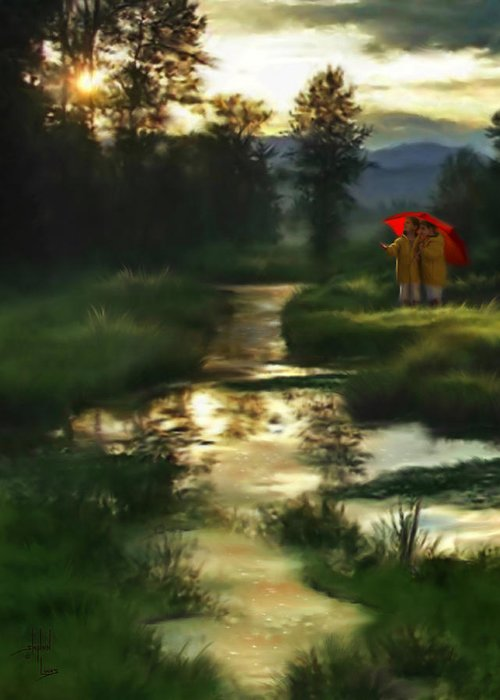 Boys Greeting Card featuring the digital art After Morning Rain by Stephen Lucas