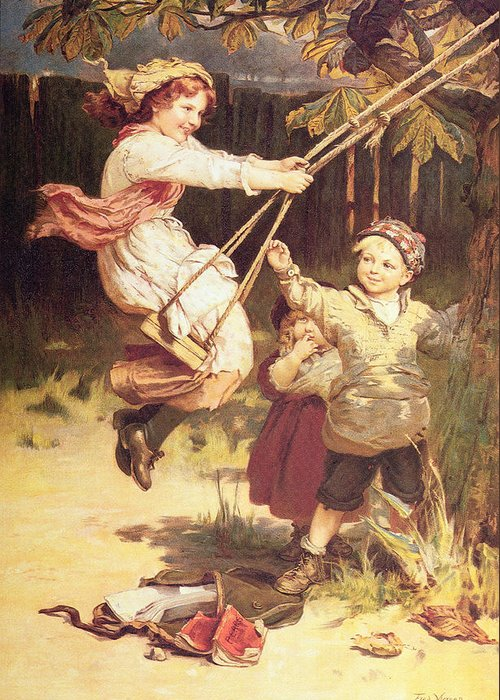 Swing; Swings; Boy; Girl; Male; Female; Child; Children; Playing; Schoolbooks; Books; Balancoire Greeting Card featuring the painting After School by Frederick Morgan