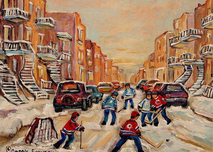 After School Hockey Game Greeting Card featuring the painting After School Hockey Game by Carole Spandau