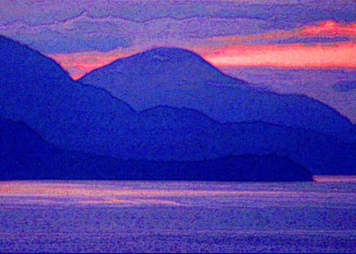 Pacific Greeting Card featuring the photograph After Sunset Mountains 5 Pd by Lyle Crump