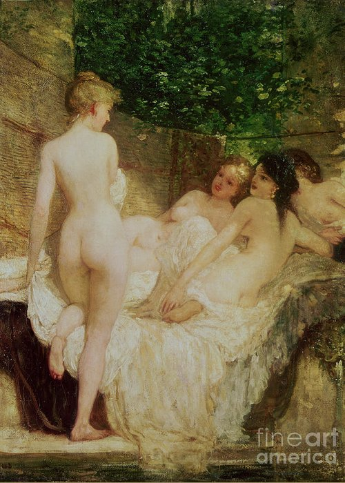 Bal54075 Greeting Card featuring the painting After The Bath by Karoly Lotz