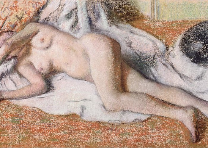 Degas Greeting Card featuring the pastel After The Bath Or Reclining Nude by Edgar Degas
