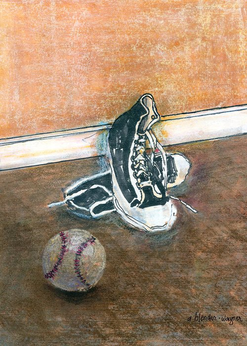 Tennis Shoes Greeting Card featuring the mixed media After The Game by Arline Wagner