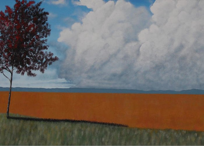 Landscape Greeting Card featuring the painting After The Harvest by Candace Shockley