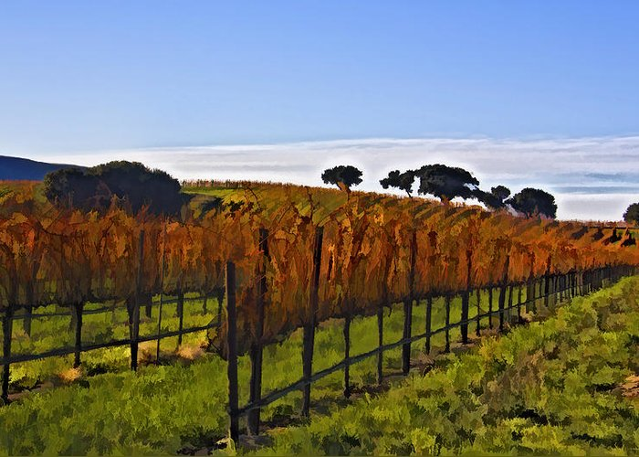 Vineyard Greeting Card featuring the digital art After The Harvest by Patricia Stalter