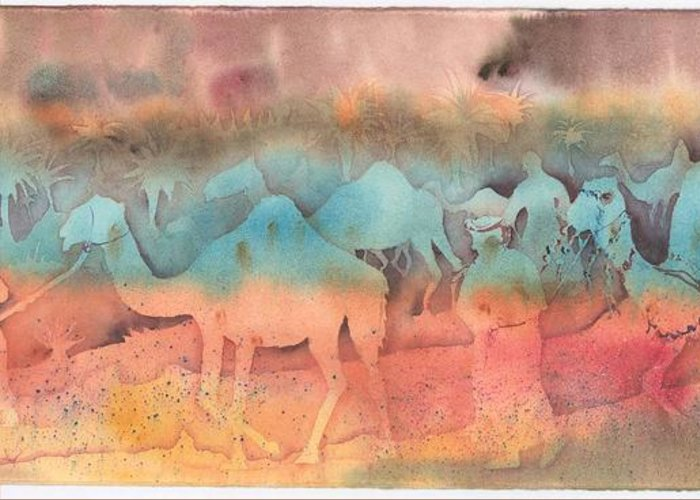 Camels Greeting Card featuring the painting After The Race by Beena Samuel